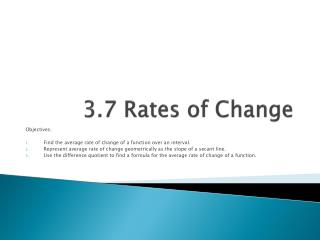 3.7 Rates of Change