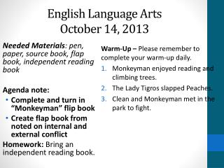 English Language Arts October 14, 2013