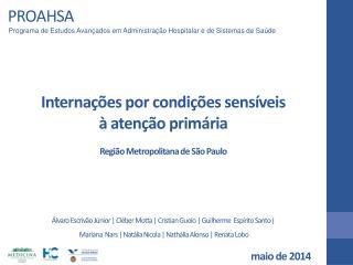 Internações por condições sensíveis  à atenção primária Região Metropolitana de São Paulo