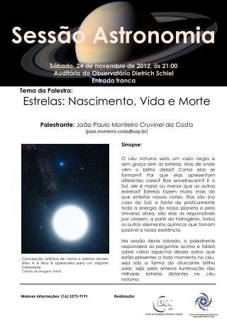 Sábado,  24  de  novembro  de 2012, às 21:00 Auditório do Observatório Dietrich  Schiel
