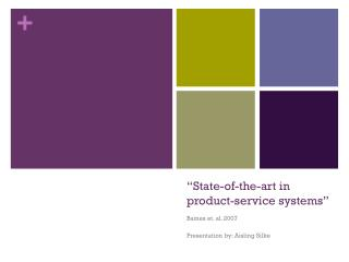 """""""State-of-the-art in product-service systems"""""""