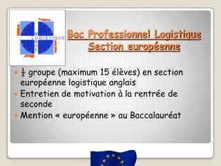 Bac Professionnel Logistique S ection européenne