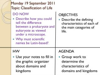 Monday 19 September 2011 Topic: Classification of Life