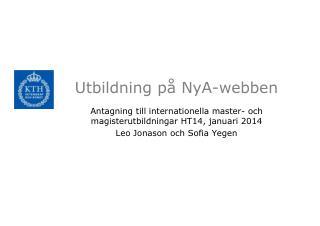 Utbildning på  NyA -webben