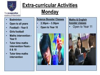 Extra-curricular Activities Monday