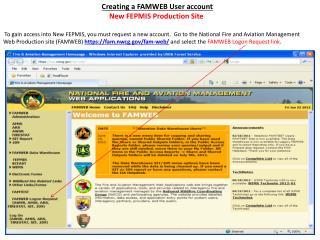 Creating a FAMWEB  User account New FEPMIS Production Site