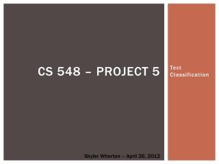 CS 548 – Project 5