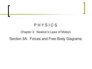 P H Y S I C S Chapter  3:  Newton's Laws of Motion Section  3A:  Forces and Free-Body Diagrams