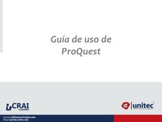 Guía de uso de ProQuest