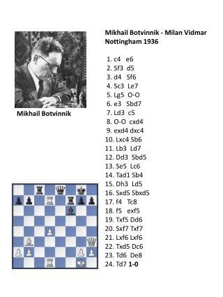 Mikhail Botvinnik - Milan  Vidmar Nottingham 1936  1. c4   e6  2. Sf3  d5   3. d4   Sf6
