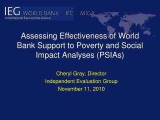 Assessing Effectiveness of World Bank Support to Poverty and Social Impact Analyses (PSIAs)
