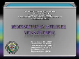 UNIVERSIDAD CENTRAL DE VENEZUELA FACULTAD DE MEDICINA ESCUELA DE SALUD PÚBLICA