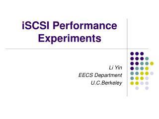 ISCSI Performance  Experiments
