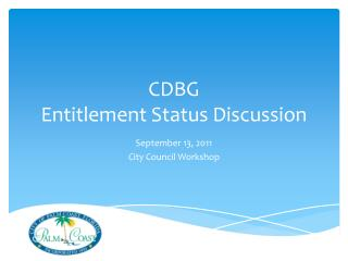CDBG Entitlement Status Discussion