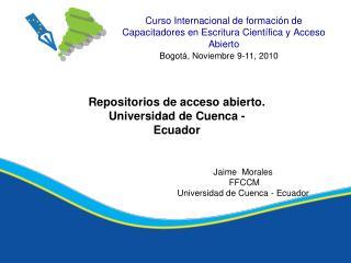 Curso Internacional de formación de Capacitadores en Escritura Científica y Acceso Abierto