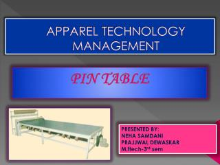 APPAREL TECHNOLOGY MANAGEMENT