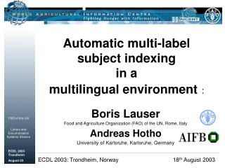 Automatic multi-label  subject indexing  in a  multilingual environment :