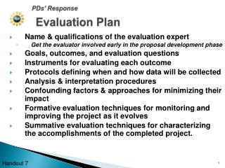 Name & qualifications of the evaluation expert