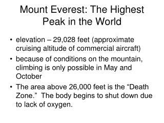 Mount Everest: The Highest Peak in the World