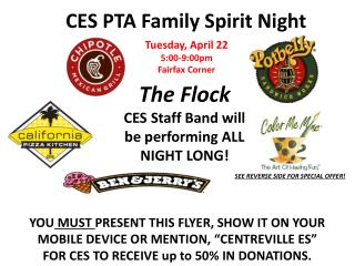 "YOU  MUST  PRESENT THIS  FLYER, SHOW IT ON YOUR MOBILE DEVICE OR MENTION, ""CENTREVILLE ES"""