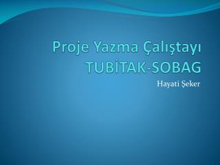 Proje Yazma Çalıştayı TUBİTAK-SOBAG