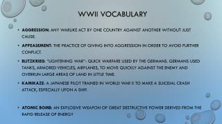 WWII Vocabulary