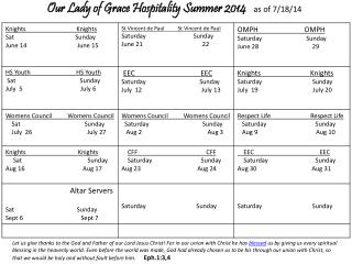 Our Lady of Grace Hospitality Summer 2014    as of 7/18/14
