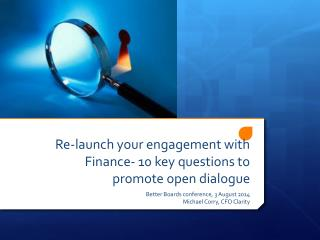 Re-launch your engagement with Finance- 10 key questions to promote open dialogue