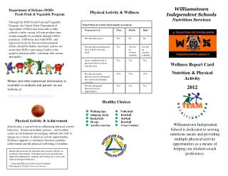 Wellness Report Card Nutrition & Physical  Activity 2012