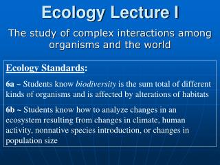 Ecology Lecture I