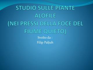 STUDIO SULLE PIANTE ALOFILE (NEI PRESSI DELLA FOCE DEL FIUME QUIETO)