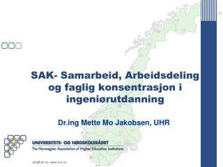 SAK- Samarbeid, Arbeidsdeling og faglig konsentrasjon i ingeni�rutdanning
