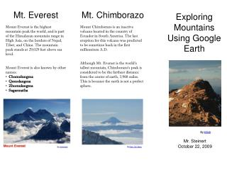 Exploring  Mountains Using Google Earth