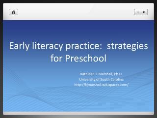 Early literacy practice:  strategies for Preschool