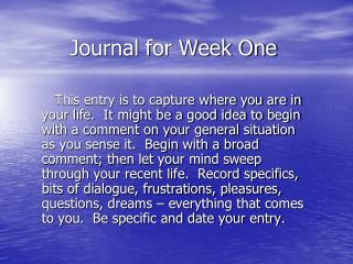 Journal for Week One