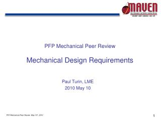 PFP Mechanical Peer Review Mechanical Design Requirements