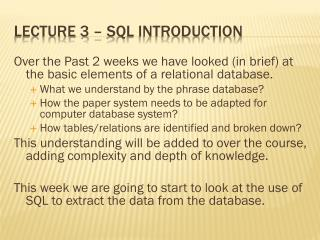 Lecture 3 – SQL introduction