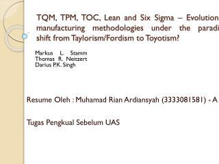 Resume  Oleh :  Muhamad Rian Ardiansyah  (3333081581) - A Tugas Pengkual Sebelum  UAS