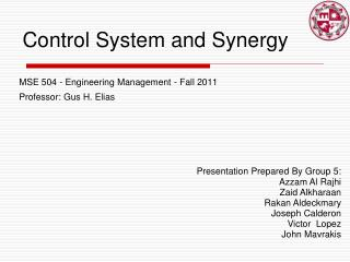 Control System and Synergy