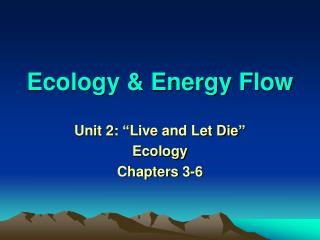 Ecology  Energy Flow