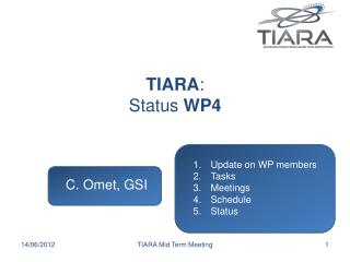 TIARA : Status  WP4