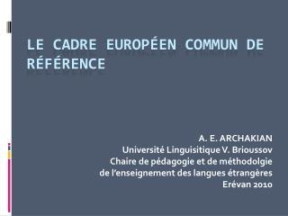 Le Cadre européen commun de référence