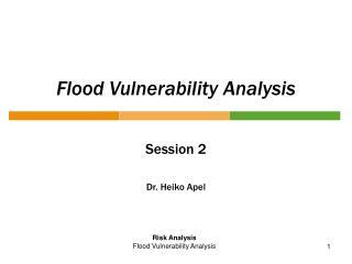 Flood Vulnerability Analysis