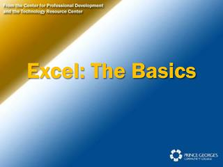 Excel: The Basics