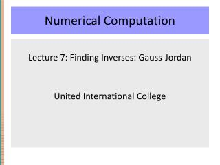 Numerical Computation