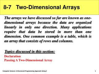 8-7   Two-Dimensional Arrays