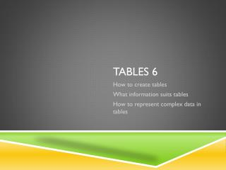 Tables  6
