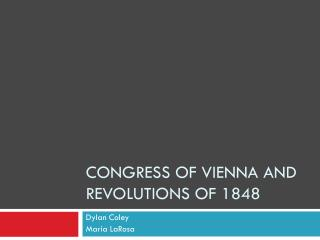 Congress of Vienna and Revolutions of 1848