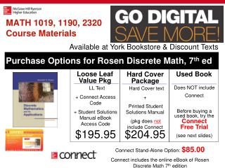 MATH 1019, 1190, 2320 Course Materials