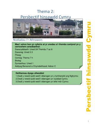Persbectif hinsawdd Cymru